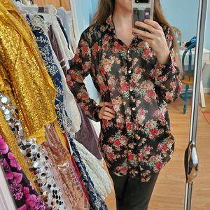 *Floral Chiffon Button Down Long Shirt*